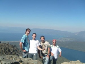 Zach, Me, Chris, and Pete on top of Mt. Tallac.  Lake Tahoe is the lake on the left and Fallen Leaf Lake on the right.